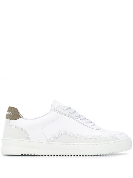 Biały ażurowy skórzany sneakersy zasznurować Filling Pieces