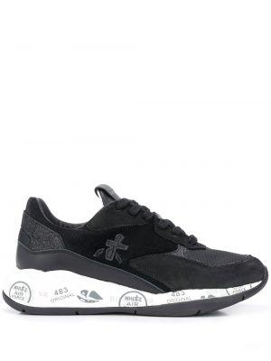Кожаные черные кроссовки с нашивками на шнуровке Premiata