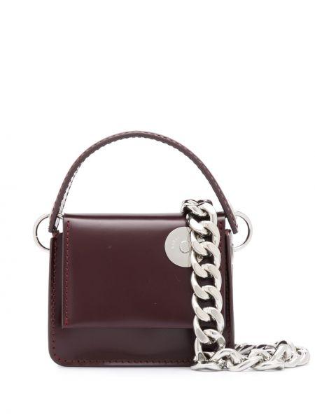 С ремешком кожаная коричневая сумка на цепочке Kara