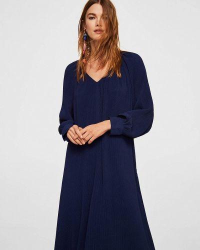 Синее платье с длинными рукавами Mango