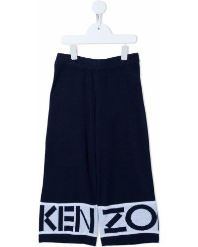 Niebieskie spodnie z wysokim stanem wełniane Kenzo Kids