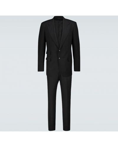 Шерстяной однобортный черный костюмный костюм Tom Ford