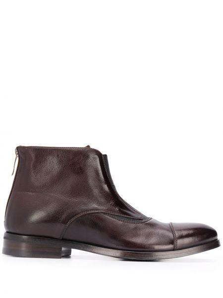 Кожаные коричневые ботинки на молнии со вставками Alberto Fasciani
