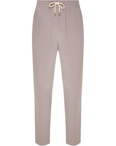 С кулиской серые прямые брюки с поясом Laroom