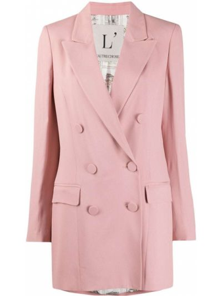 Розовый удлиненный пиджак двубортный на пуговицах L'autre Chose