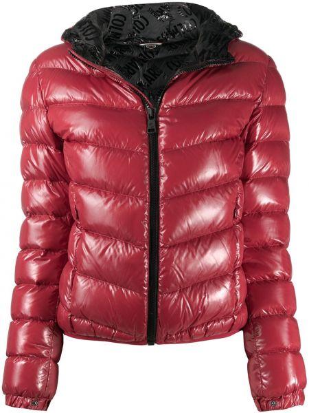 Пуховая с рукавами красная длинная куртка с перьями Colmar