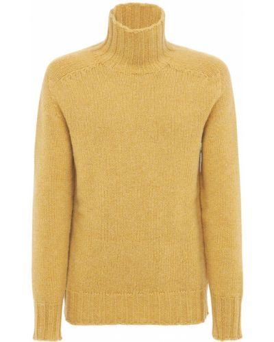 Prążkowany żółty sweter wełniany Jil Sander