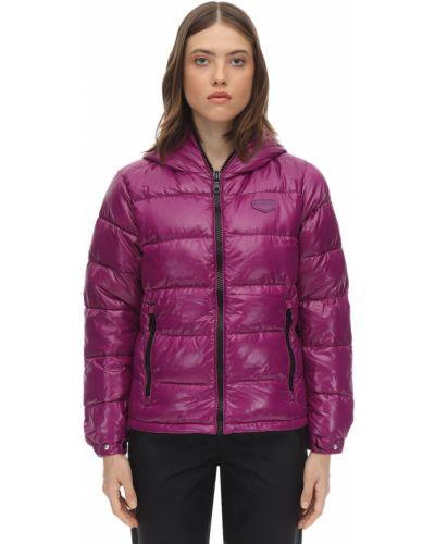 Фиолетовая пуховая куртка с капюшоном Duvetica