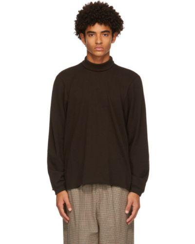 Шерстяной коричневый свитер с воротником с манжетами Camiel Fortgens