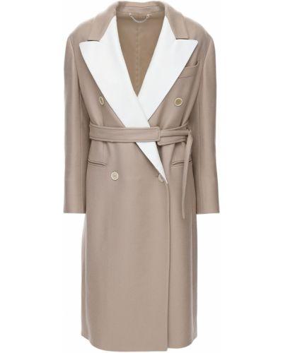 Бежевое кашемировое пальто с карманами Salvatore Ferragamo