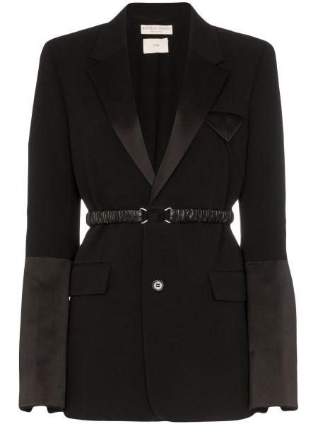 Шерстяной черный пиджак с поясом Bottega Veneta