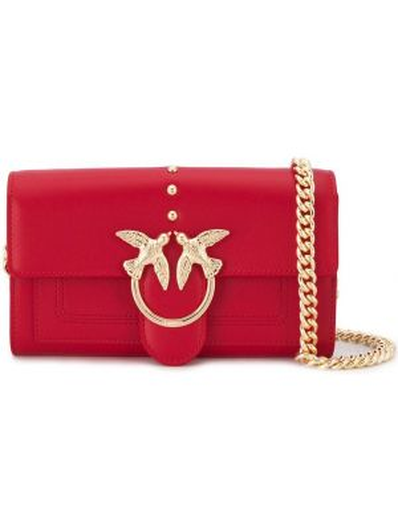 Красная сумка на цепочке прямоугольная Pinko