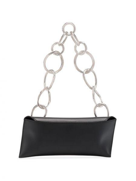 Кожаная черная сумка на цепочке матовая Venczel