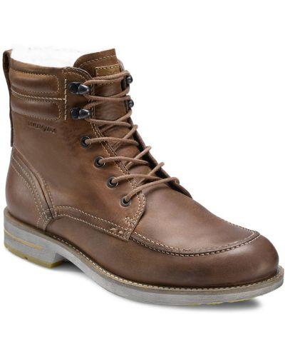 Зимние ботинки на шнуровке из нубука Ecco