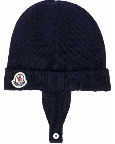Niebieska czapka wełniana Moncler Kids