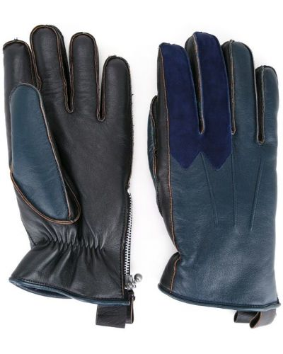 Кожаные перчатки текстильные синий Addict Clothes Japan