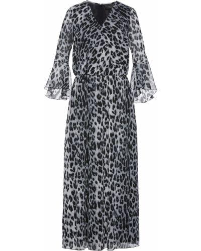 Бежевое шифоновое платье макси с оборками Bonprix
