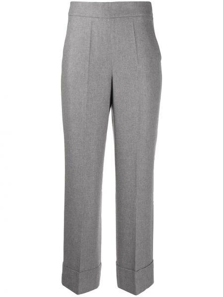 Деловые серые укороченные брюки с карманами свободного кроя Incotex