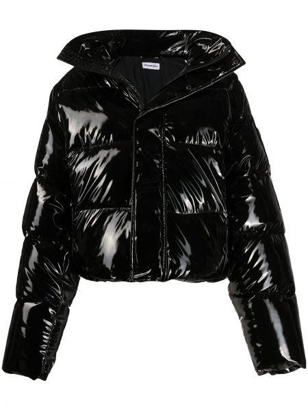 Czarna długa kurtka z długimi rękawami oversize Balenciaga