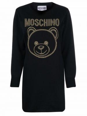 Черное шерстяное платье Moschino