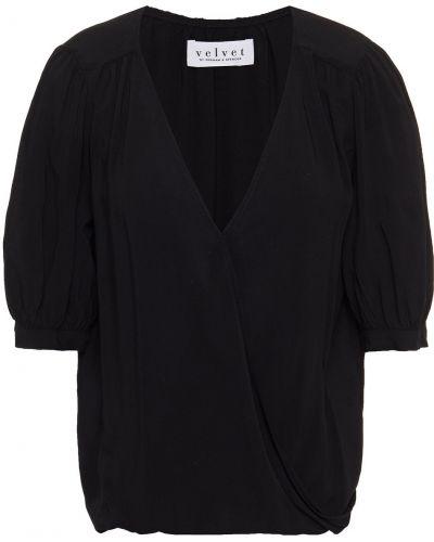Czarna bluzka z aksamitu Velvet By Graham & Spencer