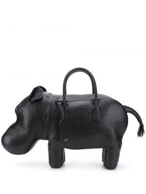 Кожаная черная сумка-тоут в полоску Thom Browne