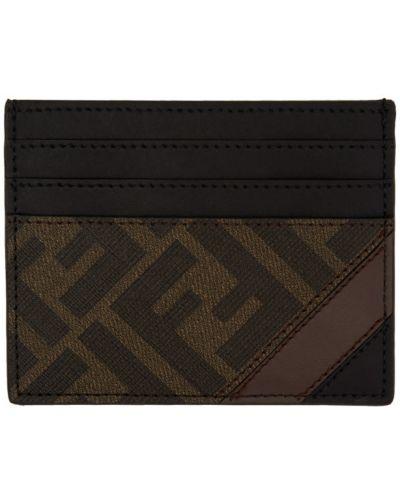 Текстильная коричневая ключница с подкладкой с заплатками Fendi