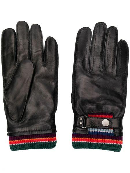 Wełniany czarny rękawiczki z paskami Paul Smith