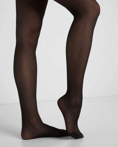Czarne ażurowe rajstopy z nylonu Orsay