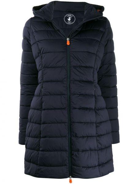 Пальто с капюшоном на молнии синее Save The Duck