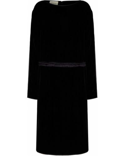 Шелковое с рукавами черное платье макси Gucci