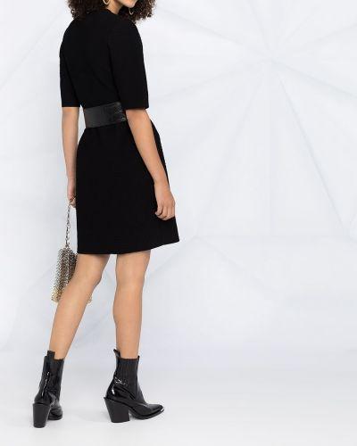Шерстяное с рукавами черное платье мини Alexander Mcqueen