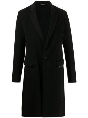 Шерстяное черное длинное пальто с воротником Givenchy