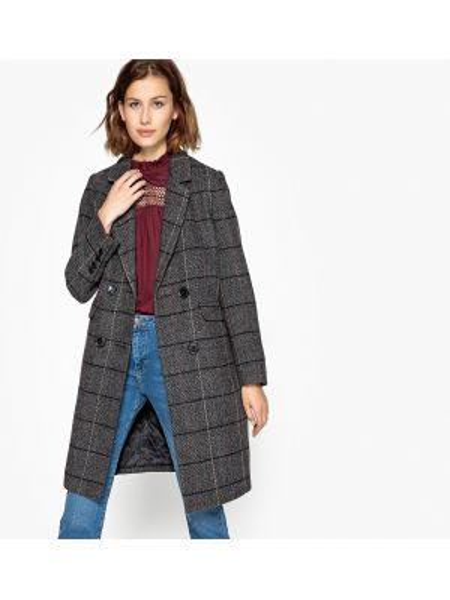 Шерстяное серое зимнее пальто с воротником с подкладкой See U Soon