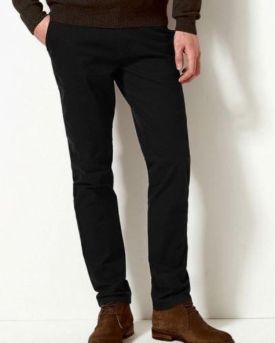 Черные зауженные брюки бязевые Marks & Spencer