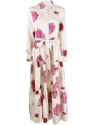 С рукавами шелковое платье на пуговицах с воротником La Doublej