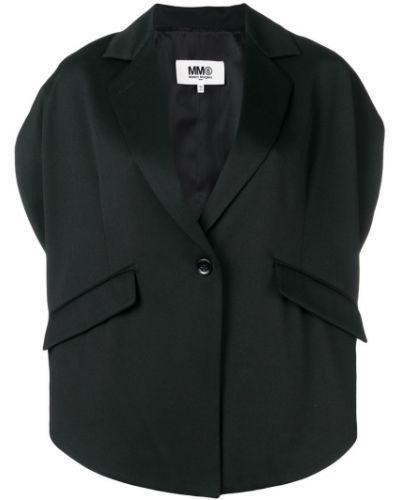 Накидка с карманами черная Mm6 Maison Margiela