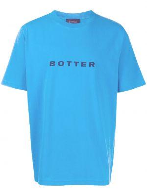Прямая хлопковая синяя футболка с круглым вырезом Botter