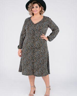 Платье с поясом на пуговицах с V-образным вырезом Jetty-plus