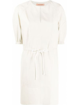 Кожаное с рукавами белое платье мини Yves Salomon