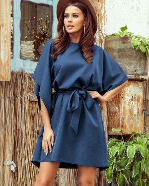Niebieska sukienka z paskiem materiałowa Numoco