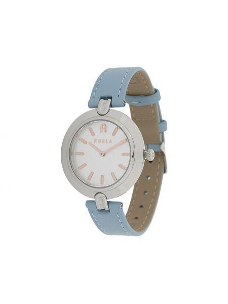 Niebieski złoty zegarek na skórzanym pasku Furla
