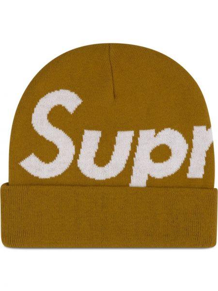Żółta czapka z akrylu Supreme