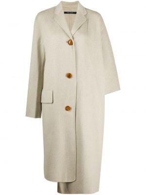 Шерстяное бежевое длинное пальто узкого кроя с лацканами Sofie D'hoore