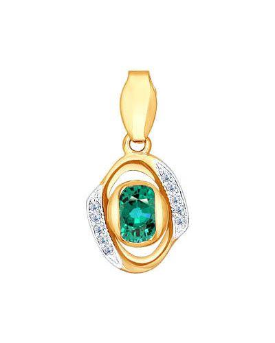 Золотая подвеска с бриллиантом зеленый Sokolov