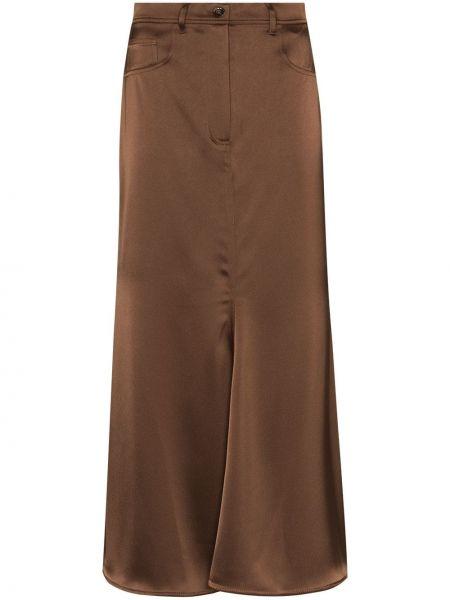Коричневая прямая классическая юбка с потайной застежкой Nanushka