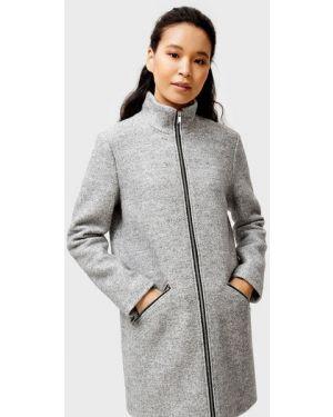 Шерстяное серое пальто с воротником на молнии Ostin
