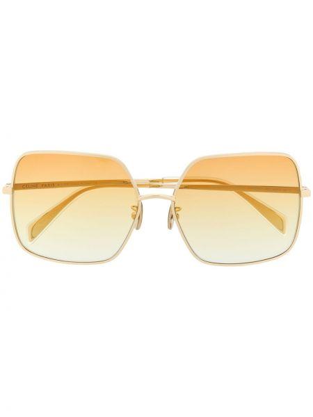 Золотистые прямые желтые солнцезащитные очки металлические Celine Eyewear