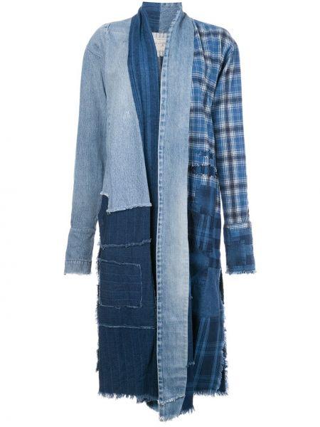Синее длинное пальто с капюшоном пэчворк Greg Lauren