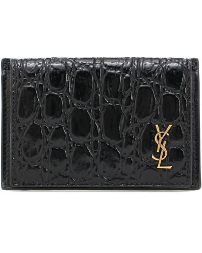 Czarny portfel skórzany Saint Laurent